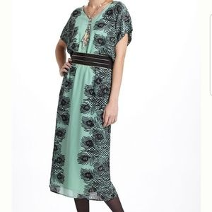 Anthropologie Plumes Kimono Midi Dress Large